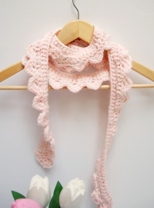 Crocheted Scalloped Skinny Scarf