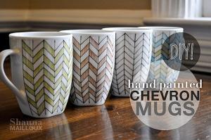Handpainted Chevron Mugs